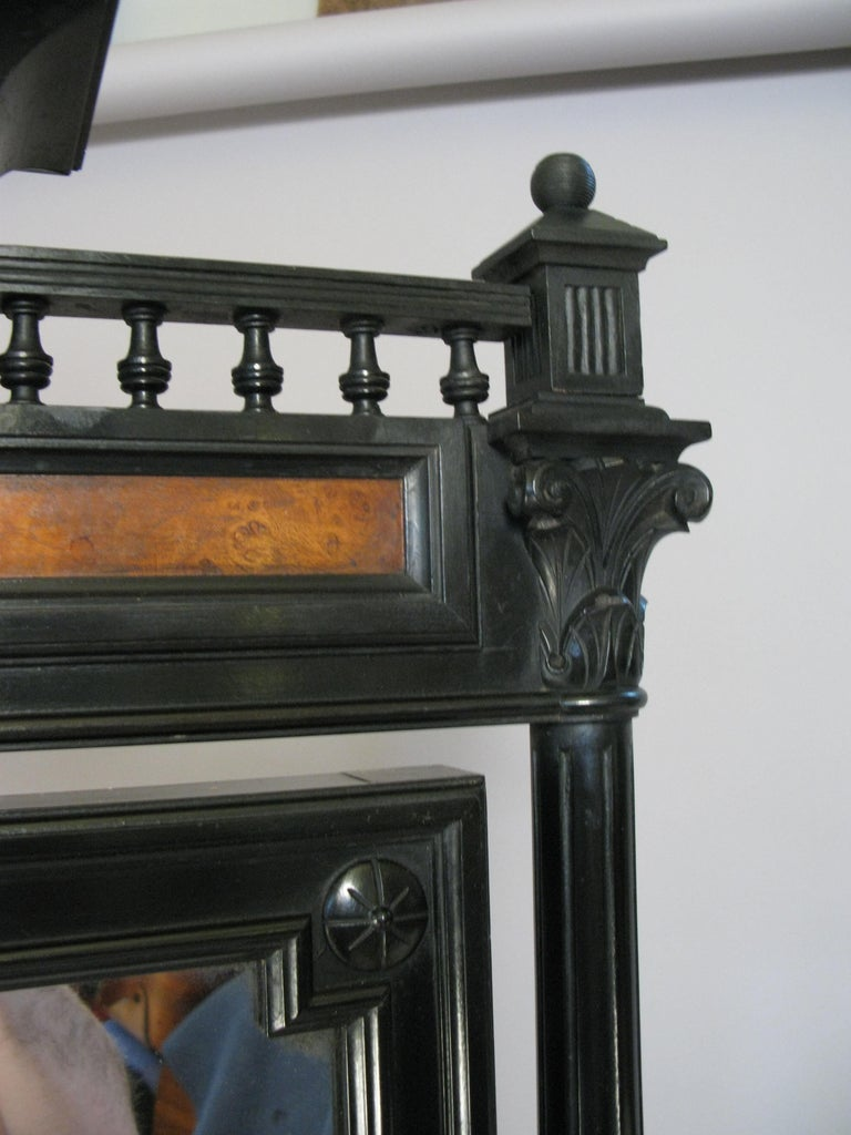 American Antique 19th Century Ebonized and Burled Cheval Mirror For Sale