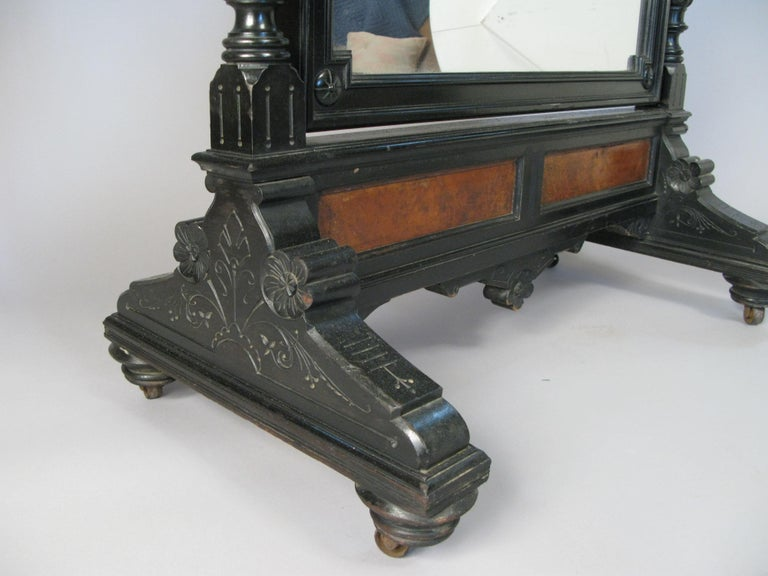 Antique 19th Century Ebonized and Burled Cheval Mirror For Sale 1