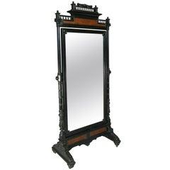 Antique 19th Century Ebonized and Burled Cheval Mirror