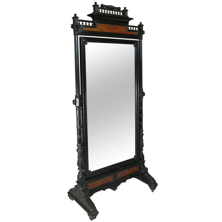 Antique 19th Century Ebonized and Burled Cheval Mirror For Sale