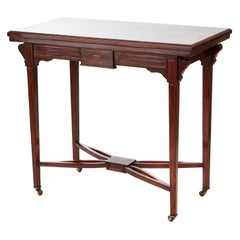Antique 19th Century Edwardian Inlaid Card Table