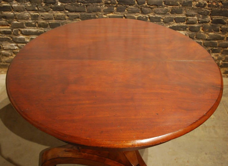 Antique 19th Century Empire Dutch Mahogany Round Dining Table For Sale 1