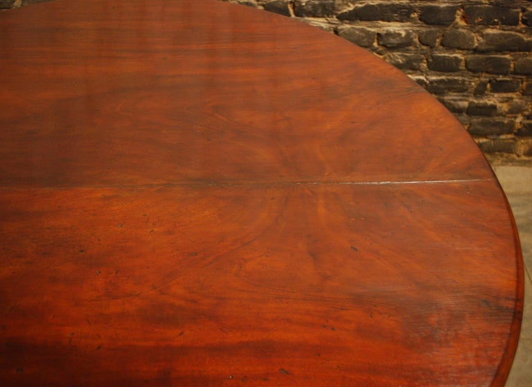 Antique 19th Century Empire Dutch Mahogany Round Dining Table For Sale 2
