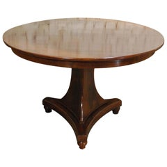 Antique 19th Century Empire Dutch Mahogany Round Dining Table