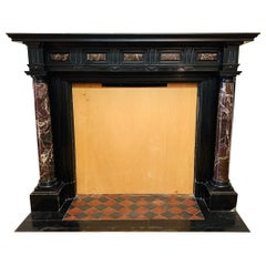 Antique 19th Century Empire Fireplace Mantel in Black and Red Marble