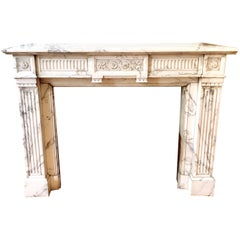 Antique 19th Century Empire Fireplace Mantel in White Carrara Marble
