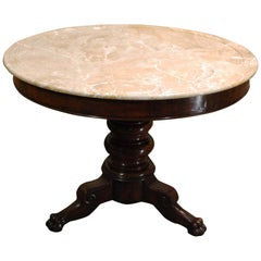 Antique 19th Century Empire Round Mahogany Table with Marble Top