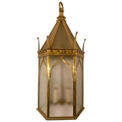 Antique 19th Century English Brass and Frosted Glass Lantern, circa 1890-1900