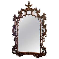 Antique 19th Century English Chippendale Carved Wood Mirror