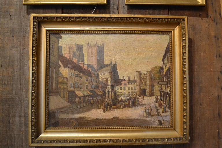Antique 19th century English oil on canvas, cityscape.