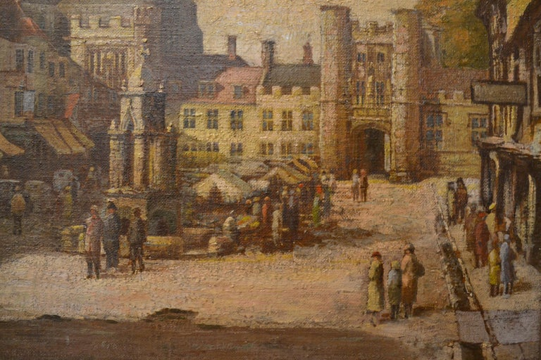 Painted Antique 19th Century English Cityscape Scene Oil on Canvas For Sale