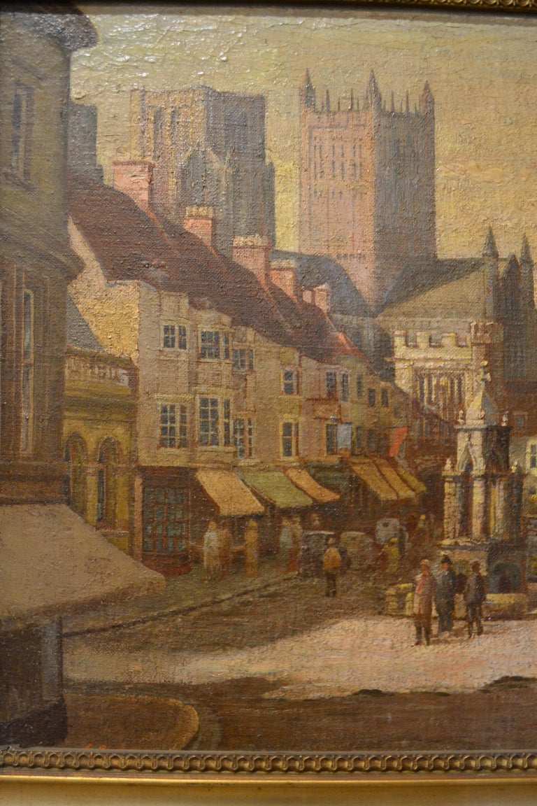 Antique 19th Century English Cityscape Scene Oil on Canvas In Good Condition For Sale In New Orleans, LA