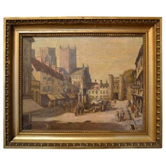Antique 19th Century English Cityscape Scene Oil on Canvas