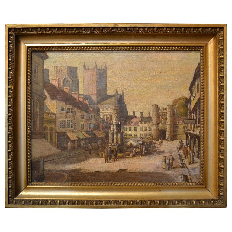 Antique 19th Century English Cityscape Scene Oil on Canvas For Sale