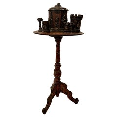 Antique 19th Century English Copper & Brass Mounted Carved Walnut Smoker's Table