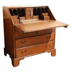Antique 19th Century English Georgian Solid Oak Slant Front Desk or Secretary