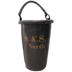 Antique 19th Century English Leather Fire Bucket, circa 1880
