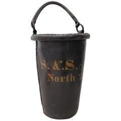 Antique 19th Century English Leather Fire Bucket, circa 1880