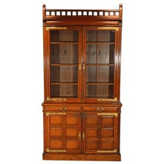 Antique 19th Century English Oak Bookcase with Brass Mounts