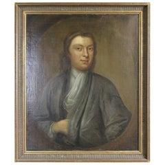 Antique 19th Century English Philosopher Portrait Oil Painting Young Man