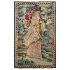 Antique 19th Century Figurative French Aubusson Tapestry with Royalty Queen