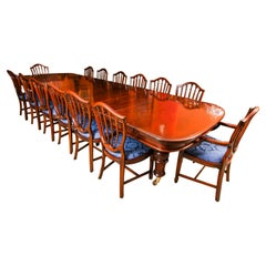 Antique 19th Century Flame Mahogany Extending Dining Table & 14 Chairs