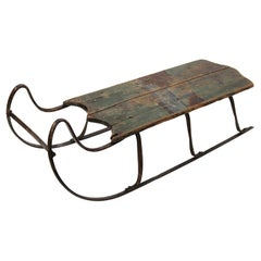 Antique 19th Century Forged Iron Runner & Painted Wood Child Size Sled