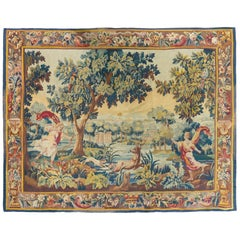 Antique 19th Century French Aubusson Verdure Landscape Tapestry Cupid Hunting