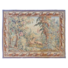 Antique 19th Century French Aubusson Landscape Tapestry with Swan