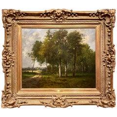 Antique 19th Century French Barbizon School Landscape Painting by Leon Richet