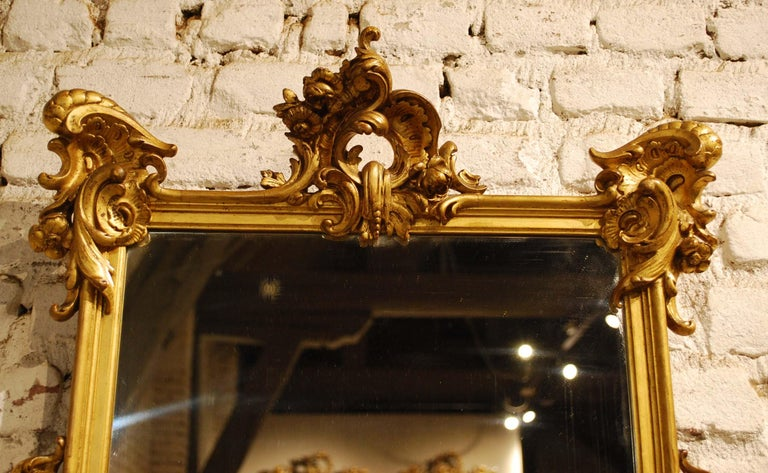 Antique 19th Century French Baroque Gold Leaf Gilt Rectangular Mirror In Good Condition For Sale In Casteren, NL