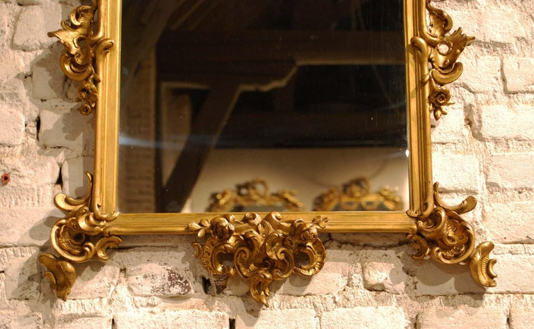 Antique 19th Century French Baroque Gold Leaf Gilt Rectangular Mirror For Sale 1