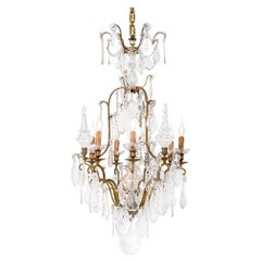 Antique 19th Century French Brass Chandelier with Cut Crystal Ornaments
