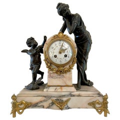 Antique 19th Century French Bronze Ormolu and Marble 8 Day Striking Mantel Clock