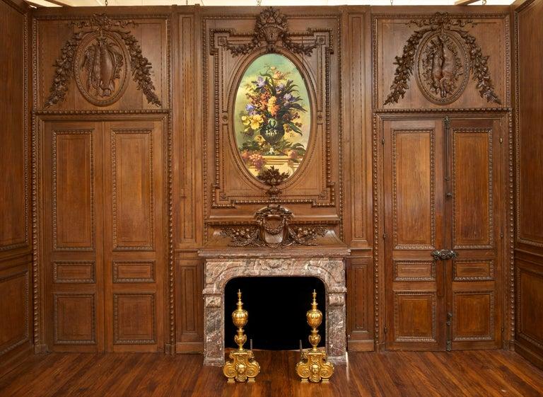Louis XVI Antique 19th Century French Chateau Oak Paneled Salon Room
