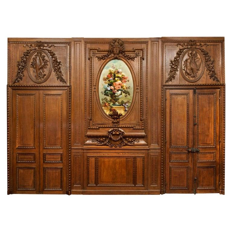 "Antique 19th Century French Chateau Oak Paneled Salon Room ""Boiserie"" circa 1865 For Sale"