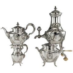 Antique 19th Century French Empire Solid Silver Tea Service, Paris, circa 1880