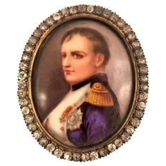 Antique 19th Century French Framed Porcelain Miniature, Portrait of Napoleon