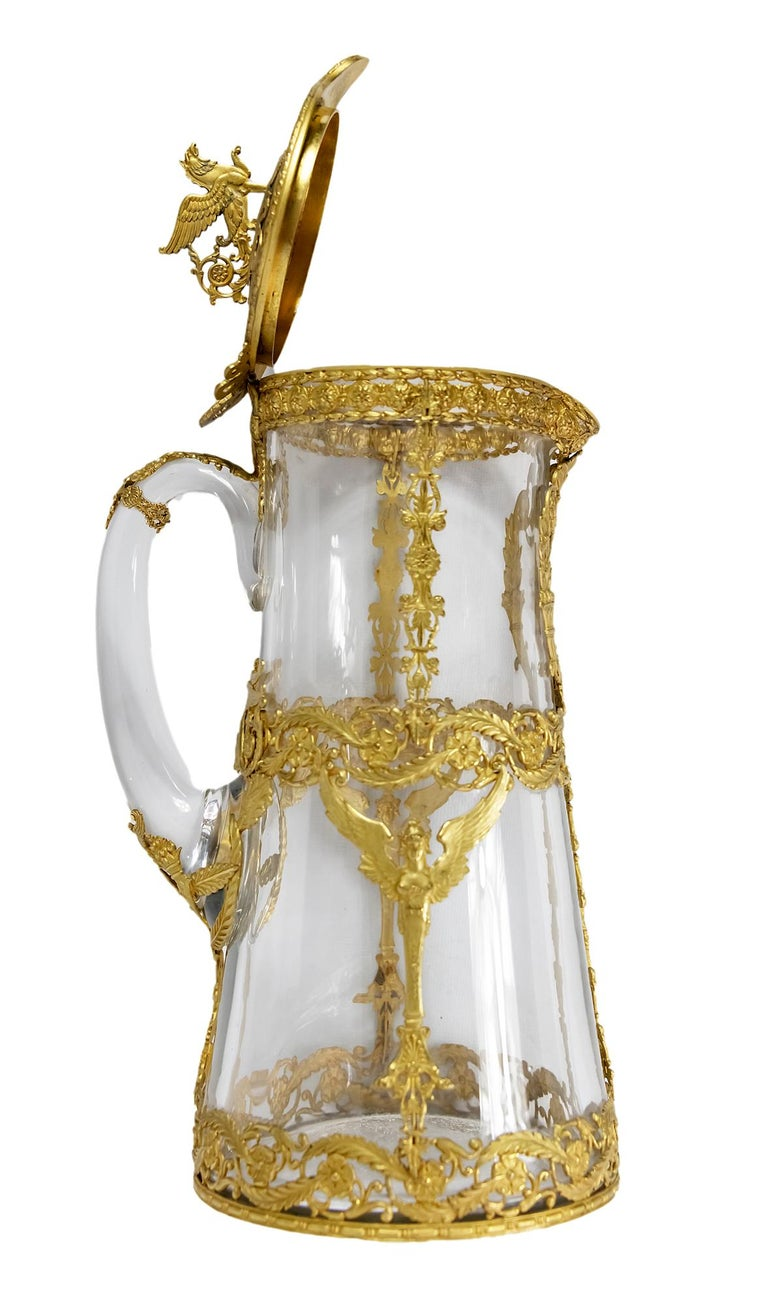 Antique 19th Century French Gilded Bronze and Glass Jug / Pitcher 1