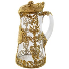 Antique 19th Century French Gilded Bronze and Glass Jug / Pitcher
