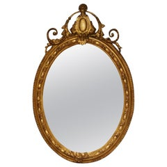 Antique 19th Century French Gilt Oval Mirror, circa 1860