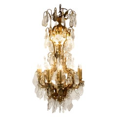 Antique 19th Century French Gold Bronze and Rock Crystal Chandelier