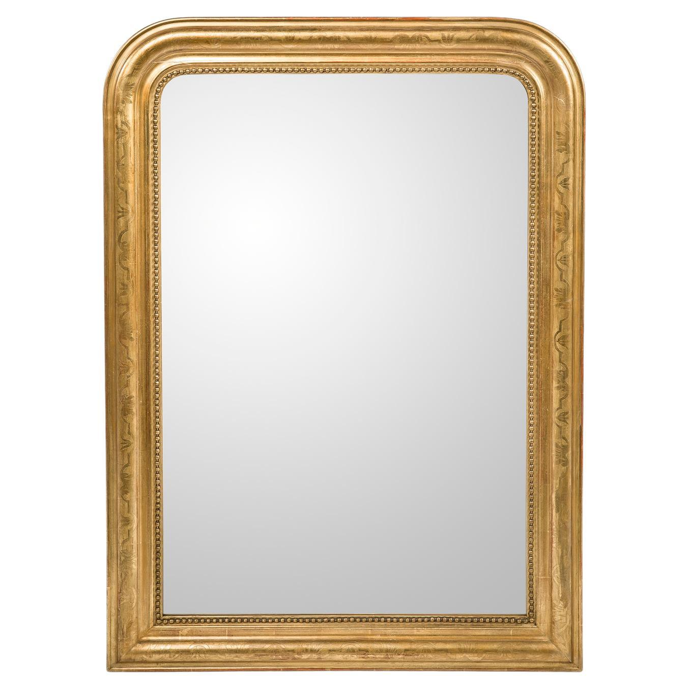 Antique 19th-Century French Gold Leaf Gilt Louis Philippe Mirror