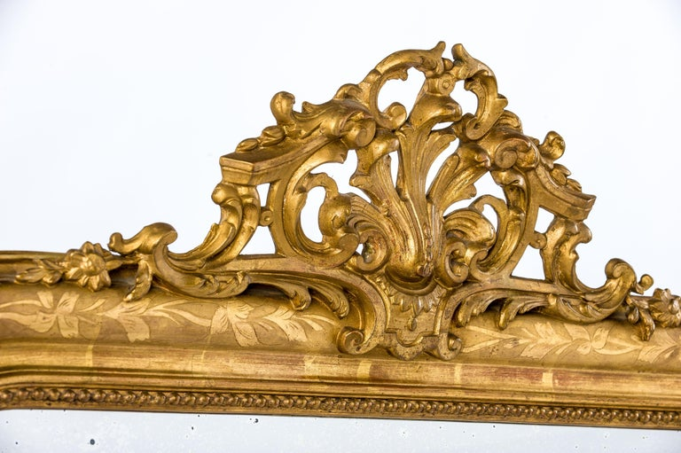 Antique 19th Century French Gold Leaf Gilt Louis Philippe Mirror with Crest 1