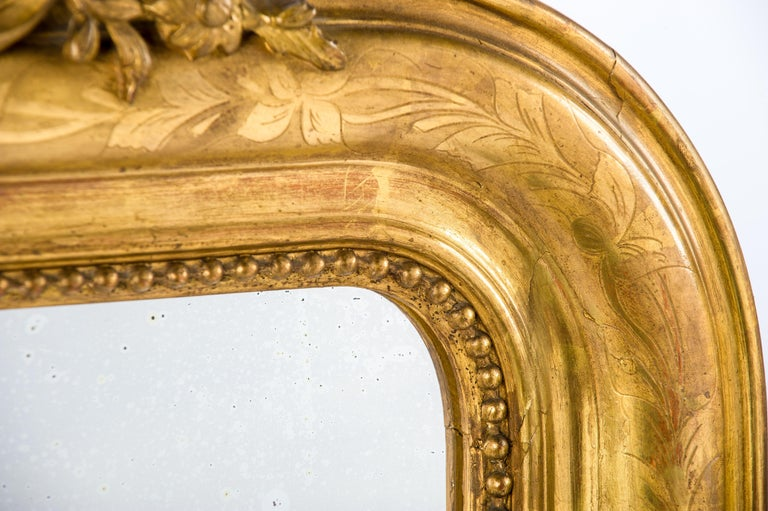Antique 19th Century French Gold Leaf Gilt Louis Philippe Mirror with Crest 3