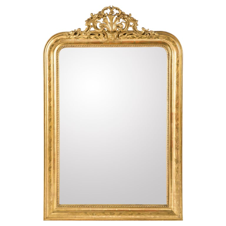 Antique 19th Century French Gold Leaf Gilt Louis Philippe Mirror with Crest
