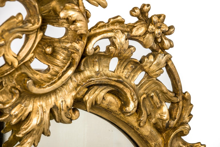 Antique 19th Century French Gold Rococo Wall Mirror with Cherubs or Putti In Good Condition For Sale In Casteren, NL