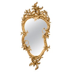 Antique 19th Century French Gold Rococo Wall Mirror with Cherubs or Putti