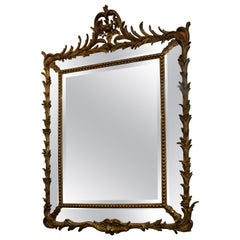Antique 19th Century French Gold Wood Double Paneled Beveled Mirror, circa 1890
