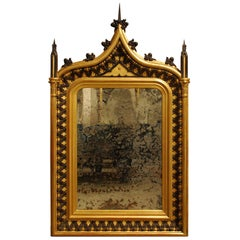 Antique 19th Century French Gothic Revival Gold Leaf Gilt Mirror
